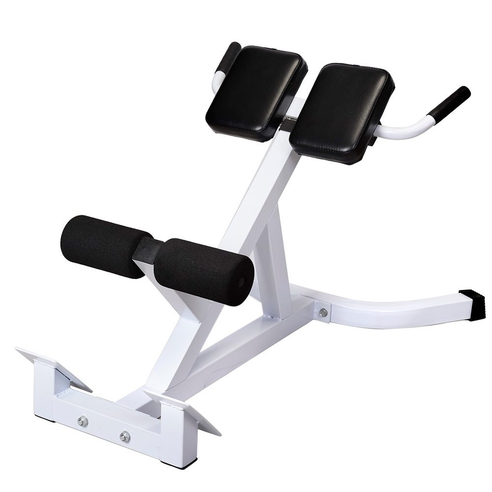 Hyperextension Bench Adjustable 45 Degree AB Back Bench Exercise Abdominal Roman Chair White & Black by GUJJI FUN