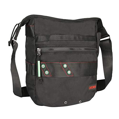 Vertical Messenger Bag, Crossbody Bag, Larswon Shoulder Bag Tablets Bag Satchel for Men Women Black