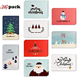 Merry Christmas Greeting Cards with Envelopes(36pack),Konsait Winter Holiday Christmas Greeting Cards Notes Cards Folded for Family Friends Gifts Box Christmas Party Favor Supplies Invitation