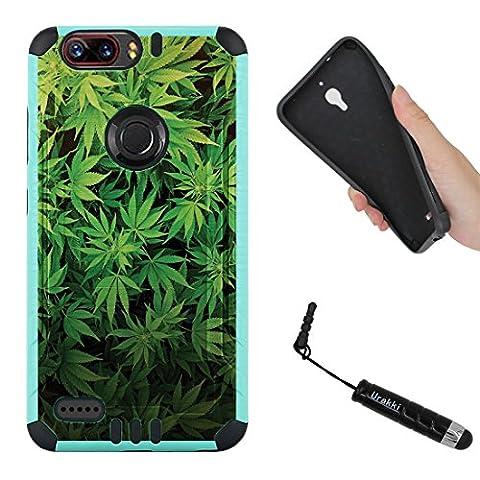 ZTE Zmax Pro 2 Case, TEAL BLACK Hybrid 2-Layer Shock Proof Rugged Armor Cover Case by URAKKI for ZTE Zmax Pro 2 2nd Gen (2017) , ZTE Blade Z Max , ZTE Sequoia [Weed Marijuana Camouflage] (Zte Zmax Phone Case Marijuana)