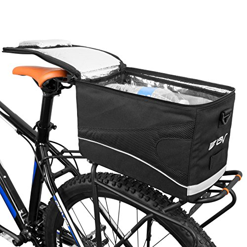 Cooler Rear Rack (BV Insulated Trunk Cooler Bag for Warm or Cold Items, Shoulder Strap & Quick-Access Lid Opening)