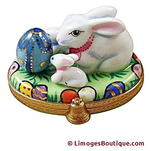 BUNNY WITH EGG AND BABIES - LIMOGES BOX AUTHENTIC PORCELAIN FIGURINE FROM FRANCE