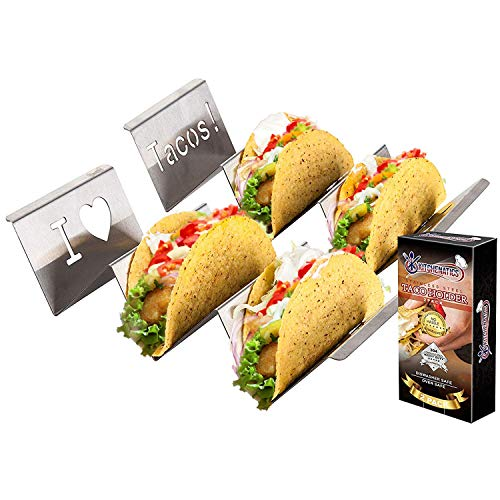 Stainless Steel Taco Holder Stand: 2 Rack Metal Tray Holders For Serving Up Soft & Hard Shell Food Truck Style Tacos - Fun Grill, Oven & Dishwasher Safe Taco Trays Great for Kids or Parties]()