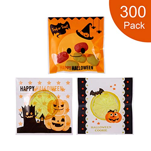 Diy Halloween Party Snacks (300 Pcs Halloween Cookie Candy Bags Self Adhesive Bakery Decorating bags Biscuit Roasting Gift DIY Plastic Bag for Halloween)