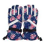 Editha Girls Women Lovely Waterproof Ski Gloves Winter Warm Full Finger Sport Outdoor Travel Gloves Mittens 1402 Red Flower