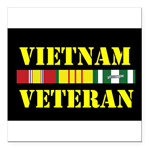 CafePress - 0-Campaign-Stars-Vietnam-Vet - Square Car Magnet, Magnetic Bumper Sticker