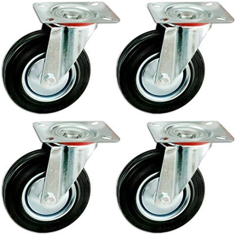 weitere Gr/ö/ßen mit und ohne Bremse w/ählbar Set mit 4 Transportrollen mit Anschraubplatte elastische Gummi Rollen 160 mm lenkbar mit Bremse Blue Wheels