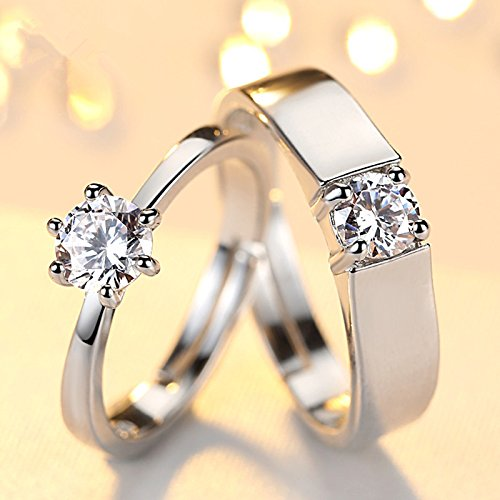 Amazon.com: JEWH Fashion Crystal CZ Stone Wedding Engagement Rings for Couples - Stainless Steel Adjustable Ring for Women Men - Romantic Gift for Couple ...