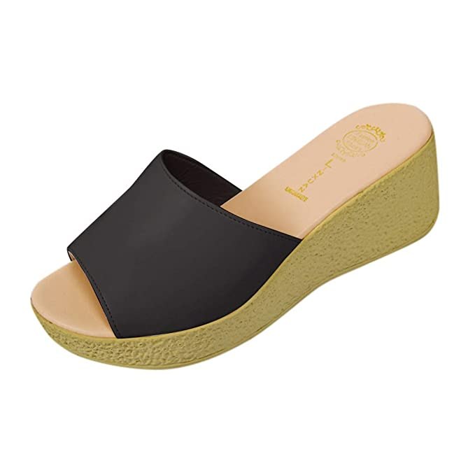 5c5b86fffe184 Amazon.com: Womens Summer Wedge Platform Slides Slippers Shoes ...