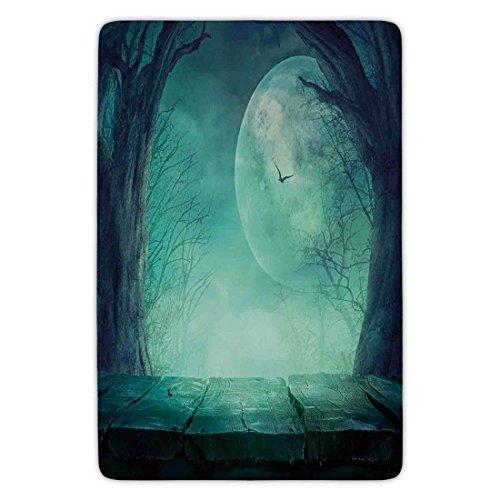 (K0k2t0 Bathroom Bath Rug Kitchen Floor Mat Carpet,Halloween Decorations,Spooky Forest Moon Vain Branches Mystical Haunted Horror Rustic Decor,Teal,Flannel Microfiber Non-Slip Soft)