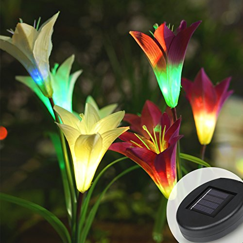 den Lights Outdoor, 2 Pack Solar Powered Lights with 8 Lily Flower, Multi-Color Changing LED Solar Stake Lights for Garden, Patio, Backyard (Purple/White) (Lily Solar Garden)