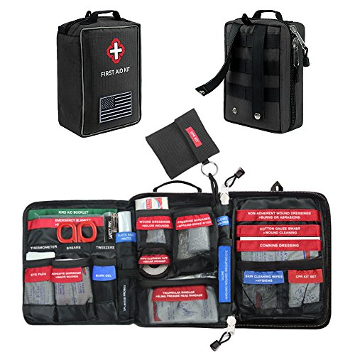 First Aid Kit Soft Case Molle Medical EMT Pouch Bag Waterproof for Home School Car Office Emergency Camping Hunting Sports (Large-Black (9.8