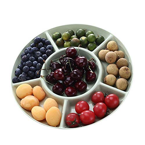 Sectional Candy Dish - Snack Serving Tray Dried Fruit and Nuts Plate 6-Section Plastic Candy Dish Salad Bowl for Fruits Desserts Wedding Home Party Platter (Green)