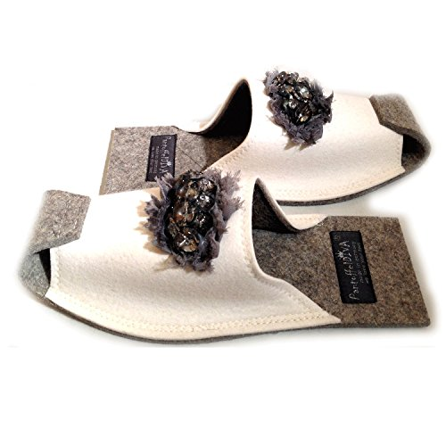 Grandes Fieltro Diva Para Zapatillas Blanco Glass Appl Pantoffeldiva Color Zapatillas Mujer Unisex nbsp;– Piedra nbsp;– nbsp;diseñador Tamaño Diamante De nbsp;42 Blanco Merino 38 Ow4q6