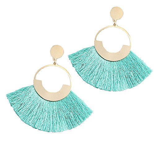 FIFATA Multicolored Short Wool Tassel Earrings for Women Colorized Thread Fringe Earrings for Girls (Round Cyan) by FIFATA