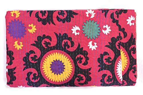Sophia Art Indian King/Queen Size Kantha Quilt, Bohemian Bedding Kantha, Suzani Kantha Rallies, Reversible Blanket/Bedspread Quilt (Multi) (Quilt Suzani)
