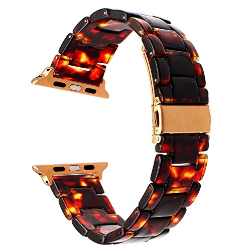 Price comparison product image TRUMiRR For Apple Watch Band 38mm Women,  Fashion Resin Watchband Metal Stainless Steel Buckle Strap Bracelet for iWatch Apple Watch Series 3 2 1 All Models