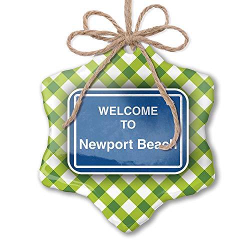 Beach Green Newport - NEONBLOND Christmas Ornament Sign Welcome to Newport Beach Green Plaid