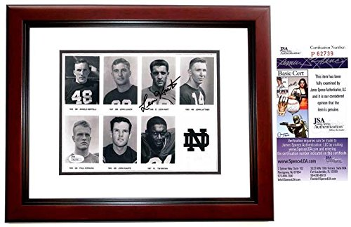 Leon Hart Signed Photo - 8x10 Heisman MAHOGANY CUSTOM FRAME Certificate of AuthenticityDeceased 2002 - JSA Certified -