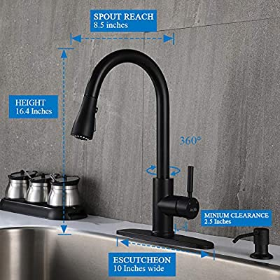 Pull Down Kitchen Sink Faucet -Arofa A02BY Contemporary Matte Black Single Handle Gooseneck Stainless Steel Pull Out Kitchen Faucet With Sprayer