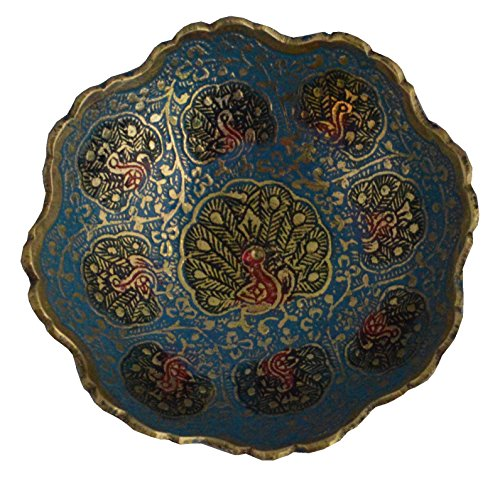 """Zap Impex Brass Decorative Dry Fruit Bowl carving Work - Size- 7"""" Beautiful Peacock design Kitchenware Gift"""