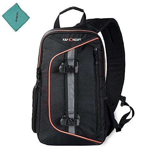 K&F Concept Digital DSLR Camera Bag Backpack Case Travel Sling Shoulder Bag Shockproof Waterproof with Lens Cleaning Set for Canon Nikon Sony Outdoor Photography with Andoer Cleaning Cloth