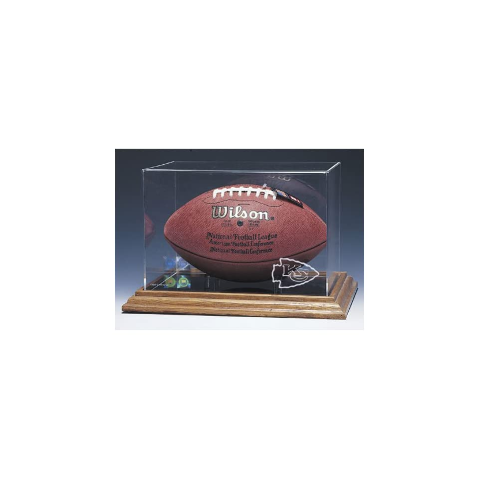 Kansas City Chiefs NFL Football Display Case (Wood Base)
