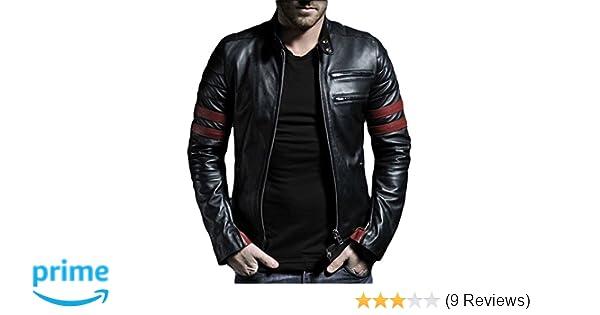 Exemplar Mens Genuine Lambskin Leather Jacket Black KL767 at Amazon Mens Clothing store: