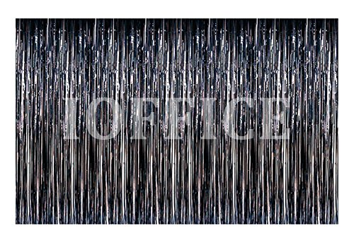 Metallic Black Foil Fringe Curtains 12 ft X 8 ft. Door Window Curtain Party Decoration (12' x 8', Black) (Door Streamers Curtain)
