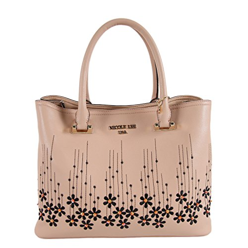 Nicole Lee Rosalie Floral Embroidery Tote Bag (Peach)