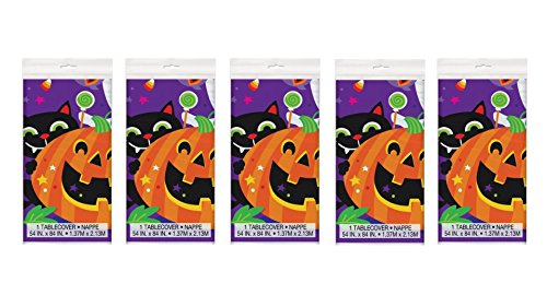5 Pieces Black Cats and Jack-o-Lanterns Plastic Happy Halloween Table Cover, 84