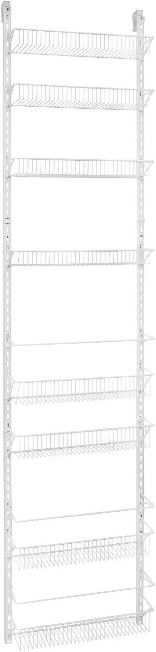 Jumbl Adjustable Wall Mounted 18 Inch Wide Hanging Spice Storage Rack, White