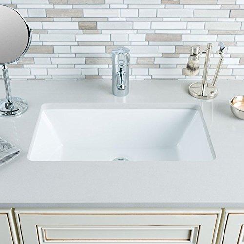 Hahn Ceramic Medium Rectangular Bowl Undermount White Bathroom Sink by (Medium Undermount Bathroom Sink)