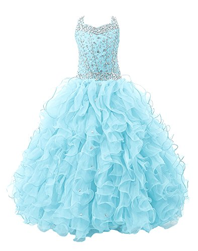 - Baoji Girls' Crystal Body Straps Layered Ball Gown Ruffles Pageant Dresses (12, Baby Blue)