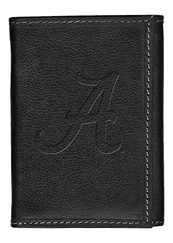 Carolina Sewn Alabama Crimson Tide Bama Leather Tri-Fold Wallet Black Trifold