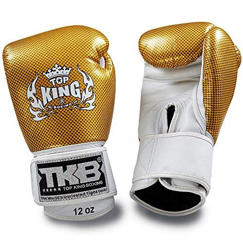 Top King Muay Thai Boxing Gloves TTKBGEM-02 Gold Empower Creativity MMA UFC Kick Boxing K1 Training Punching Gloves (Gold, 16OZ)