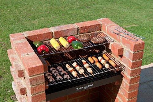 Built In BBQ 410 sq ins Brick Bbq Kit with Stainless Steel Cooking Grates & Cover by Black Knight