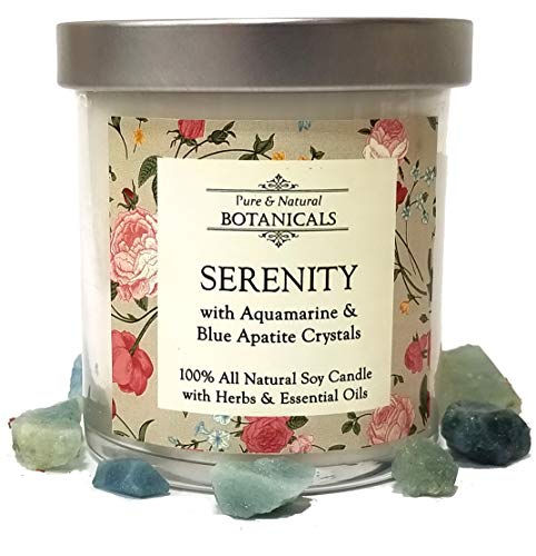 Serenity Pure & Natural Soy Candle 8.5 oz 100% Natural & Non Toxic with Crystals, Violet, Ylang Ylang, Lavender Herbs & Essential Oils For Peace Stress Worry Anxiety Wiccan Pagan & Spirituality