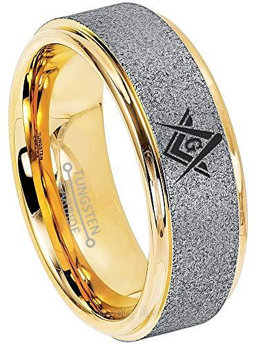 Jewelry Avalanche Mens Masonic Tungsten Ring - Freemason Masonic Symbol Ring - 8MM Sandblasted 2-Tone Yellow Gold Tungsten Carbide Ring - s15 (Yellow Gold Sandblasted)