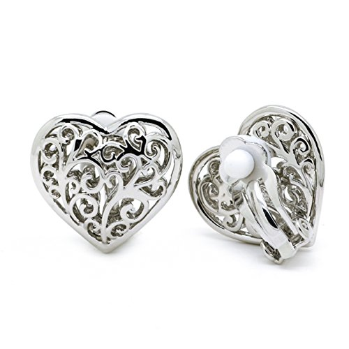 Sparkly Bride Heart Clip On Earrings Filigree Ornate Scroll Rhodium Plated