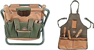 Esschert Design GT01 41 x 31 x 30cm Metal/Textile Garden Stool - Green & design GT06 58 x 48 x 1cm Short Textile Garden Apron - Green
