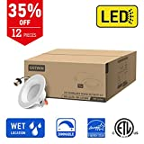 OSTWIN Recessed Lighting, Led 4-inch Can Pot Lights for Ceiling, Round Downlight Retrofit Kit Fixture, Baffle Trim, 9W (65 Watt), 3000K (Soft White) Dimmable, (12 Pack) ETL & Energy Star Listed