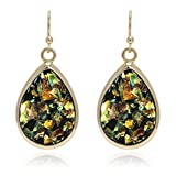 ♥ Birthday Gift ♥ Tear of Mermaids Iridescent Opal Effect with Yellow Gold Plated Dangle Drop Statement Earrings