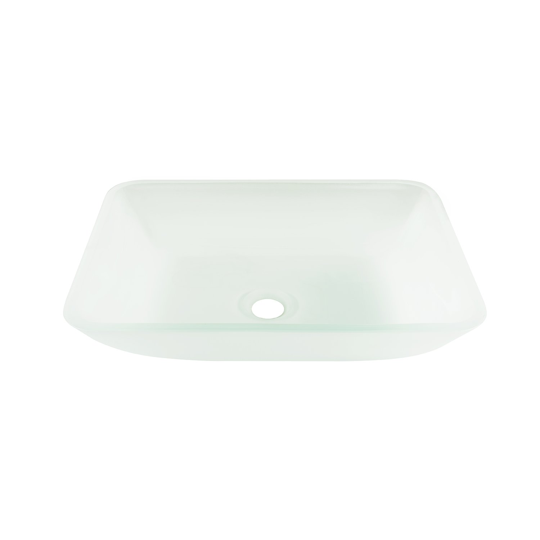 VIGO VG07083 Rectangular White Frost Glass Vessel Bathroom Sink, White Frost/Rectangular White Frost
