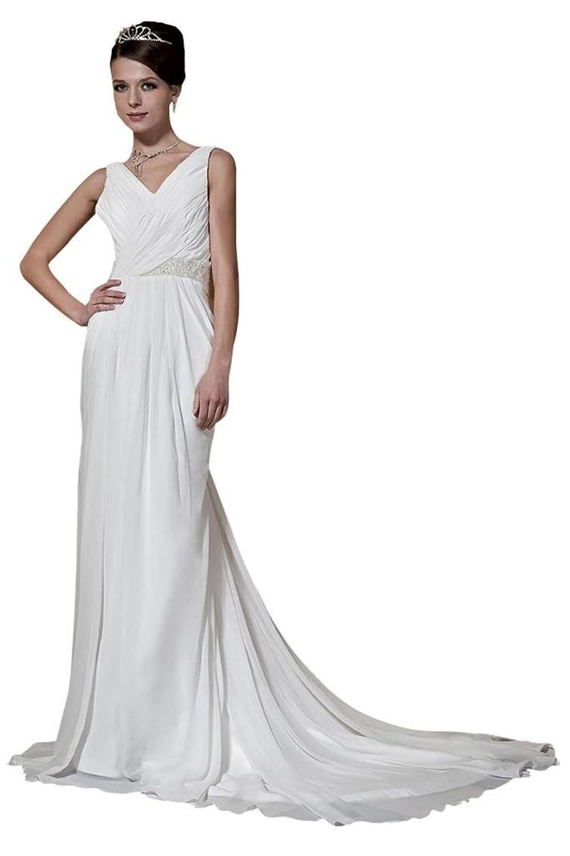 GEORGE BRIDE Chiffon Straps Sweep Train Junoesque Wedding Dress