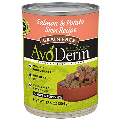 Breeder'S Choice 528449 12-Pack Avoderm Natural Grain Free Salmon/Potato Stew For Dogs, 12.5-Ounce