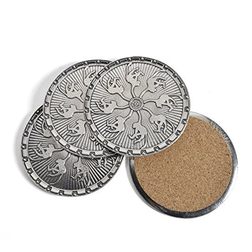 Roosfoos Pewter Monkey Coasters, Set of 4 (Pewter Round Coaster)