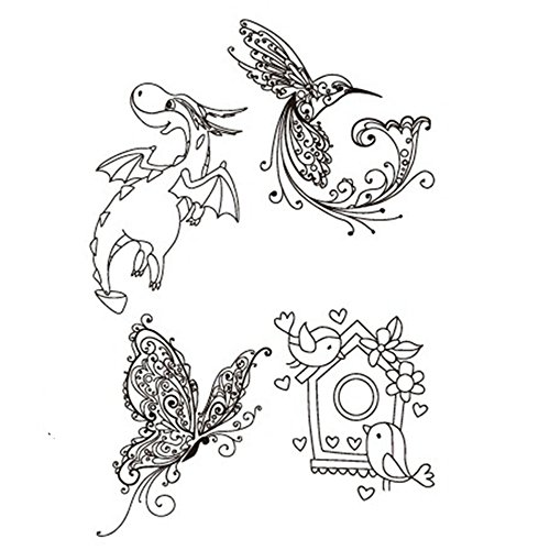 Butterflies Cute Bird House Flying Dragon Decorative Clear Transparent Rubber Stamps for Scrapbook Craft Card Making