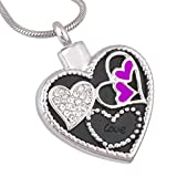 Aooaz Silver Heart Cubic Zirconia Memorial Ashes Urn Necklace Stainless Steel Cremation Jewelry Heaven