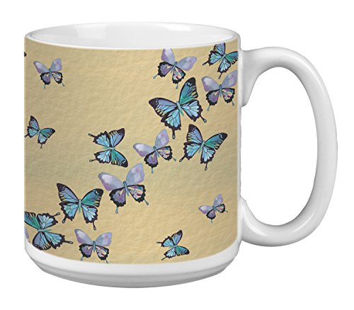 - Tree-Free Greetings Extra Large 20-Ounce Ceramic Coffee Mug, Blue Butterflies In Flight Themed Shell Rummel Art (XM29475)